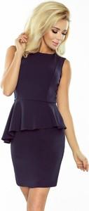 Granatowa sukienka Moda Dla Ciebie ołówkowa bez rękawów