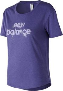 Bluzka New Balance z krótkim rękawem w sportowym stylu z okrągłym dekoltem