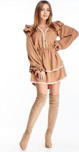 Brązowa sukienka N/A z okrągłym dekoltem