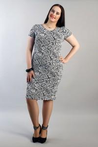 Sukienka Oscar Fashion z krótkim rękawem dla puszystych z okrągłym dekoltem