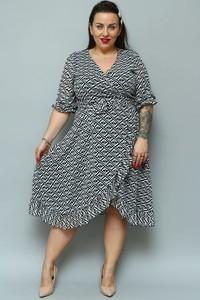 Sukienka KARKO z tkaniny midi z dekoltem w kształcie litery v