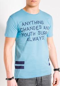 Niebieski t-shirt Edoti z nadrukiem