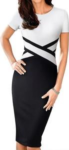 Czarna sukienka Arilook midi ołówkowa z krótkim rękawem