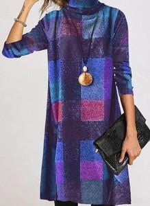 Fioletowa sukienka Cikelly w stylu casual mini z golfem