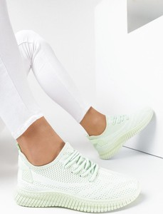 Miętowe buty sportowe born2be sznurowane