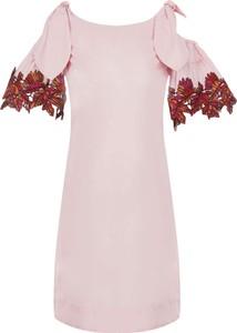 Sukienka Pinko midi z tkaniny z krótkim rękawem