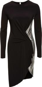 Czarna sukienka bonprix bodyflirt boutique midi bez wzorów