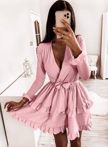 Sukienka Pakuten z długim rękawem mini kopertowa