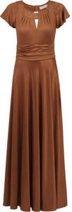 Brązowa sukienka POTIS & VERSO maxi z tkaniny