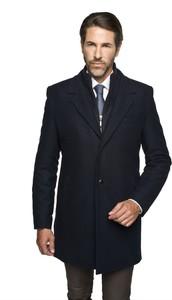 Czarny płaszcz męski recman bez wzorów
