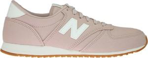 Różowe buty sportowe New Balance sznurowane z nubuku