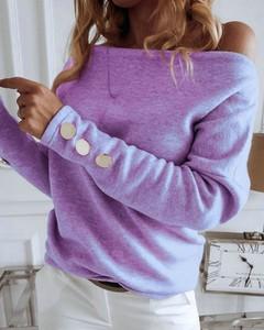 Bluzka Kendallme z bawełny z okrągłym dekoltem z długim rękawem