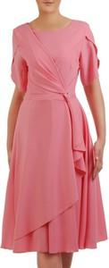 Sukienka POLSKA z tkaniny z okrągłym dekoltem midi