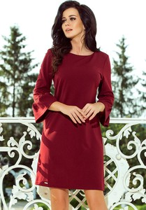 Czerwona sukienka NUMOCO z okrągłym dekoltem w stylu casual z długim rękawem