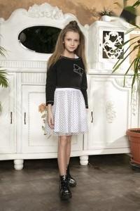 Czarna tunika dziewczęca Małami w groszki