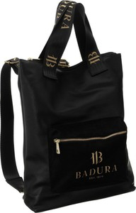 Czarna torebka Badura duża ze skóry ekologicznej na ramię