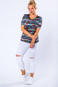 Bluzka Ptakmoda.com w młodzieżowym stylu z krótkim rękawem z tkaniny