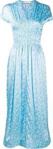 Niebieska sukienka Ganni z krótkim rękawem z dekoltem w kształcie litery v z jedwabiu