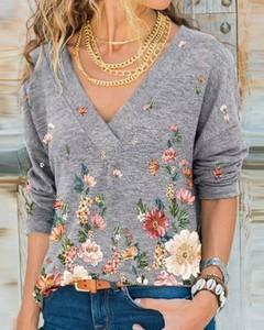 Bluzka Kendallme z dekoltem w kształcie litery v z bawełny w stylu casual