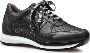 Czarne buty sportowe Venezia sznurowane na platformie ze skóry