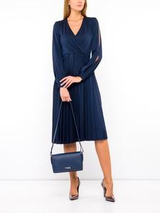 Granatowa sukienka Trussardi Jeans midi z dekoltem w kształcie litery v kopertowa