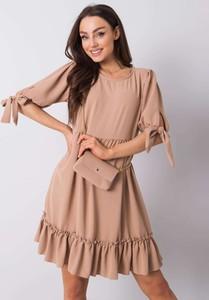 Sukienka Promese mini z okrągłym dekoltem z długim rękawem