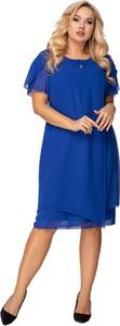 Sukienka Ptakmoda.com midi z tiulu z krótkim rękawem