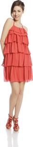 Pomarańczowa sukienka Fokus z dekoltem halter w stylu casual