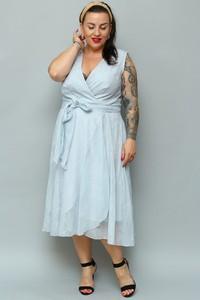 Sukienka KARKO z dekoltem w kształcie litery v kopertowa z szyfonu