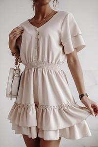 Sukienka lafemmeboutique.pl z lnu z krótkim rękawem
