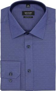 Niebieska koszula recman z długim rękawem bez wzorów