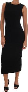 Czarna sukienka Dolce & Gabbana bez rękawów z jedwabiu