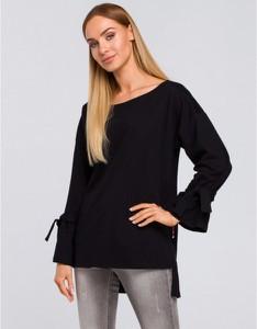 Czarna bluzka MOE w stylu casual z długim rękawem