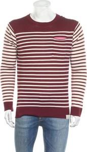 Czerwony sweter Scotch & Soda w młodzieżowym stylu z okrągłym dekoltem