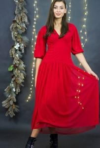 Czerwona sukienka Byinsomnia z dekoltem w kształcie litery v z długim rękawem w stylu casual