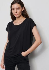 Czarny t-shirt Reserved z krótkim rękawem z okrągłym dekoltem w stylu casual
