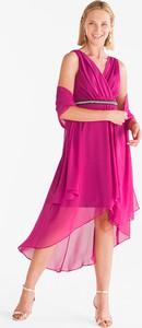 Różowa sukienka YESSICA midi asymetryczna