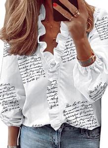 Bluzka Sandbella z bawełny z długim rękawem z okrągłym dekoltem