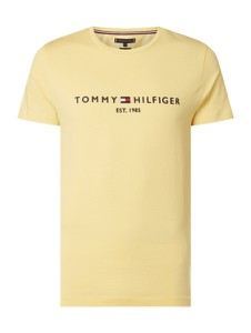 Żółty t-shirt Tommy Hilfiger z krótkim rękawem z nadrukiem