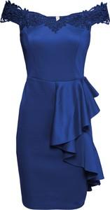 Sukienka bonprix BODYFLIRT boutique hiszpanka z krótkim rękawem dopasowana