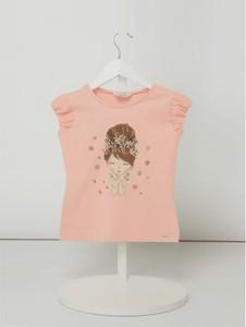 Różowa bluzka dziecięca Mayoral z bawełny z krótkim rękawem