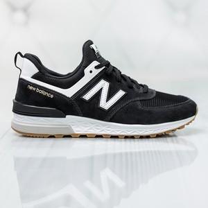 Czarne buty sportowe New Balance w sportowym stylu 574 sznurowane
