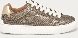 Brązowe buty sportowe Pepe Jeans ze skóry ekologicznej