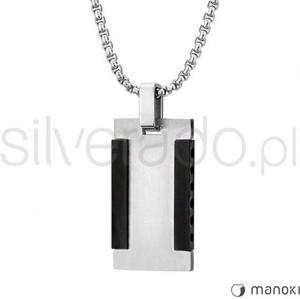 Silverado minimalistyczny męski naszyjnik ze stali szlachetnej z czarnymi belkami 77-wa292