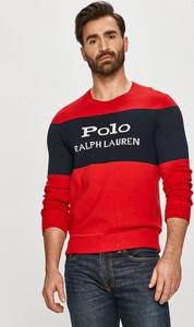 Czerwony sweter POLO RALPH LAUREN w młodzieżowym stylu z okrągłym dekoltem z dzianiny