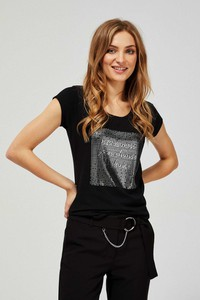 T-shirt Moodo z okrągłym dekoltem z krótkim rękawem