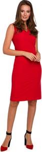 Czerwona sukienka Makover z dekoltem w kształcie litery v midi bez rękawów