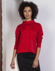 Czerwona bluzka Lanti z długim rękawem z golfem