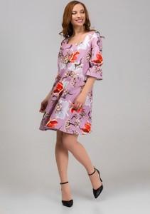 Różowa sukienka producent niezdefiniowany mini w stylu casual z długim rękawem