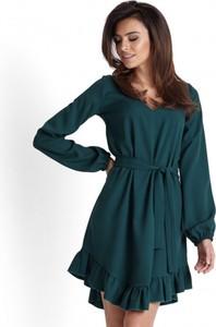 Zielona sukienka Ivon z dekoltem w kształcie litery v mini